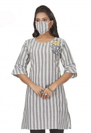 Embroidered Cotton Kurti in Grey and Off White
