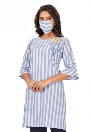 Embroidered Cotton Kurti in Light Blue and Off White