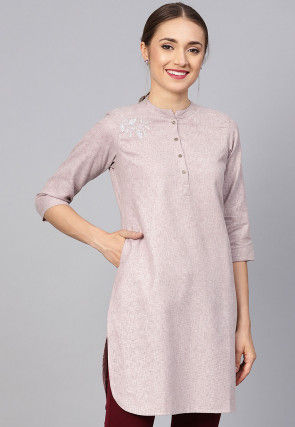 Embroidered Cotton Kurti in Light Dusty Purple