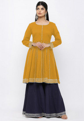 Embroidered Cotton Kurti in Mustard
