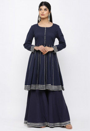 Embroidered Cotton Kurti in Navy Blue