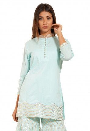 Embroidered Cotton Kurti in Sky Blue