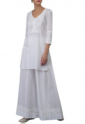 Embroidered Cotton Kurti Set in Off White