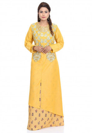 Embroidered Cotton Layered Kurta in Yellow and Beige