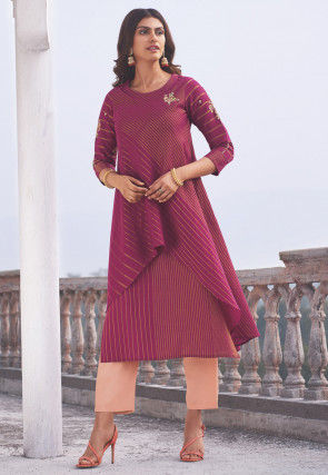 Embroidered Cotton Layered Straight Kurta Set in Magenta