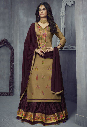 Embroidered Cotton Lehenga in Beige