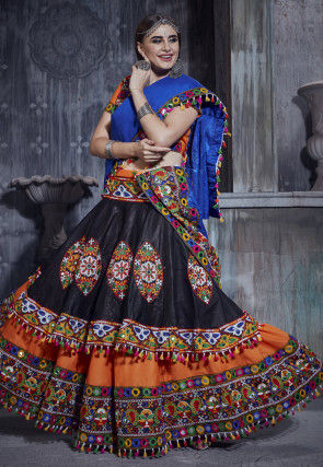 Embroidered Cotton Lehenga in Black and Orange