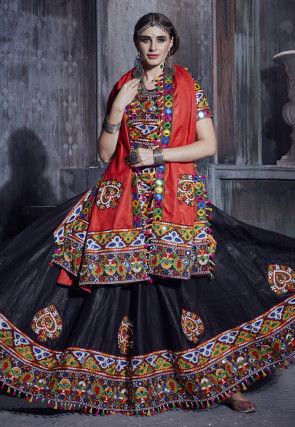 Embroidered Cotton Lehenga in Black