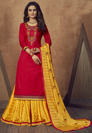 Embroidered Cotton Lehenga in Fuchsia