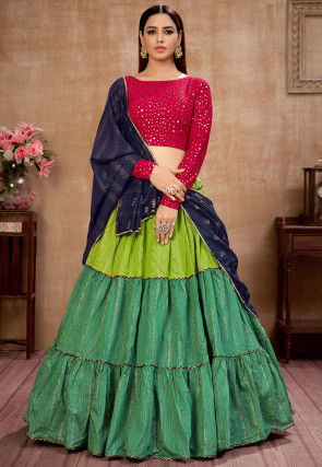 Embroidered Cotton Lehenga in Green
