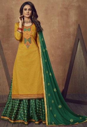 Embroidered Cotton Lehenga in Mustard