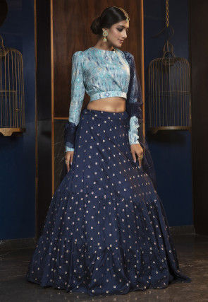 Embroidered Cotton Lehenga in Navy blue
