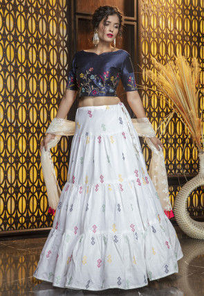 Embroidered Cotton Lehenga in Off White