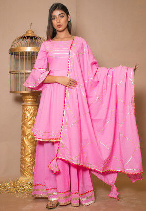 Embroidered Cotton Lehenga in Pink