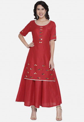 Embroidered Cotton Lehenga in Red