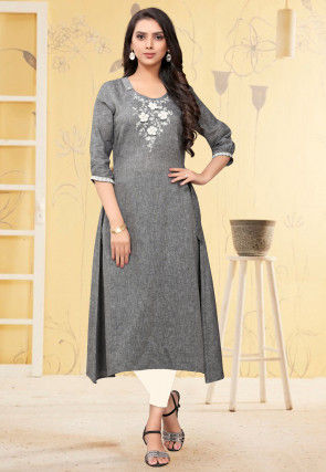 Embroidered Cotton Linen A Line Kurta in Grey