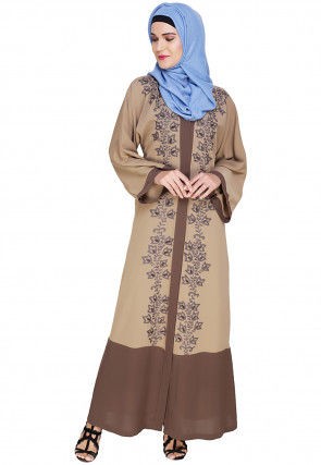 Embroidered Cotton Linen Dubai Style Abaya in Beige and Brown