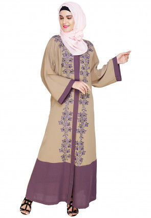Embroidered Cotton Linen Dubai Style Abaya in Beige and Purple