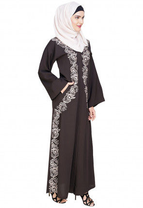 Embroidered Cotton Linen Dubai Style Abaya in Dark Brown