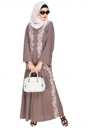 Embroidered Cotton Linen Dubai Style Abaya in Light Brown
