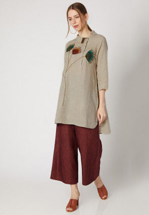 Embroidered Cotton Linen Kurta with Palazzo in Light Fawn