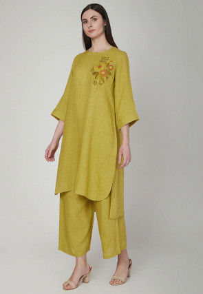 Embroidered Cotton Linen Kurta with Palazzo in Light Olive Green