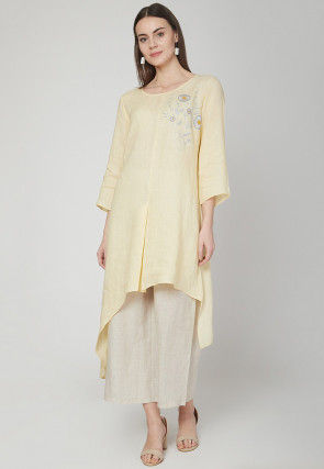 Embroidered Cotton Linen Kurta with Palazzo in Light Yellow