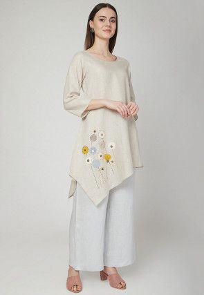Embroidered Cotton Linen Kurta with Palazzo in Off White
