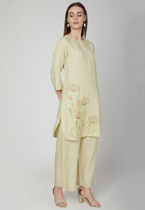 Embroidered Cotton Linen Kurta with Palazzo in Pastel Green