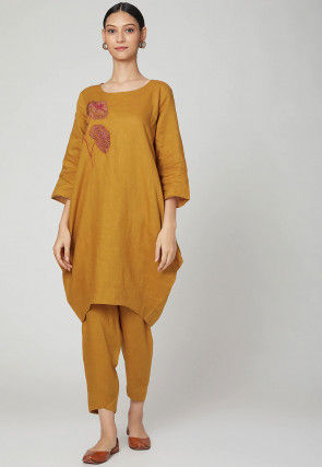Embroidered Cotton Linen Kurta with Pant in Dark Mustard