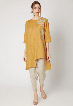 Embroidered Cotton Linen Kurta with Pant in Light Mustard