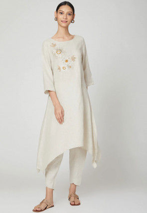 Embroidered Cotton Linen Kurta with Pant in Off White