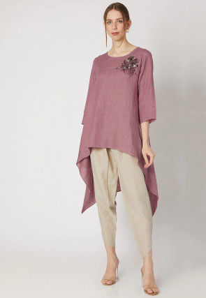 Embroidered Cotton Linen Kurta with Pant in Old Rose