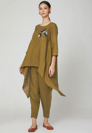 Embroidered Cotton Linen Kurta with Pant in Olive Green