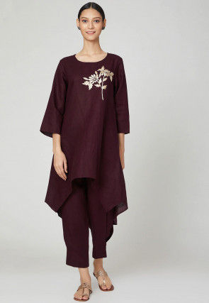 Embroidered Cotton Linen Kurta with Pant in Wine
