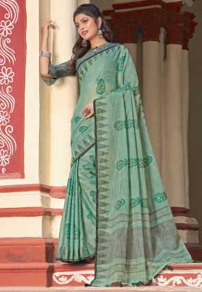 Embroidered Cotton Linen Saree in Dusty Green