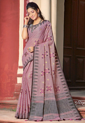 Embroidered Cotton Linen Saree in Dusty Pink