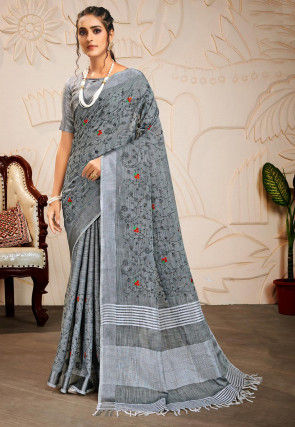 Embroidered Cotton Linen Saree in Grey