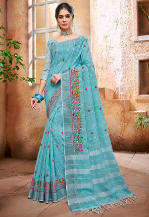 Embroidered Cotton Linen Saree in Light Blue