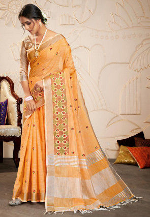 Embroidered Cotton Linen Saree in Light Orange