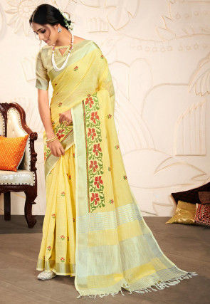 Embroidered Cotton Linen Saree in Light Yellow