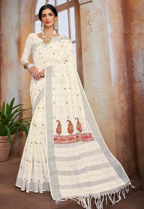 Embroidered Cotton Linen Saree in Off White