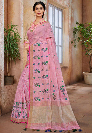 Embroidered Cotton Linen Saree in Pink