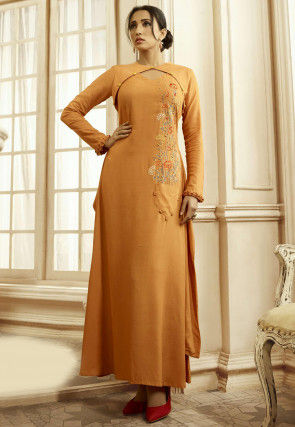 Embroidered Cotton Long Kurta in Mustard