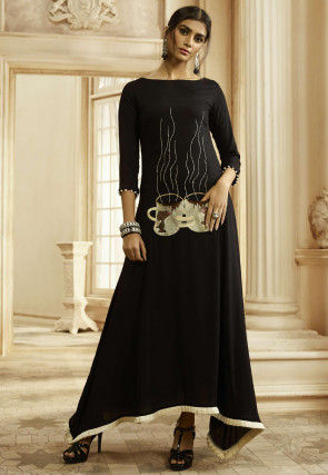 Embroidered Cotton Maxi Dress in Black