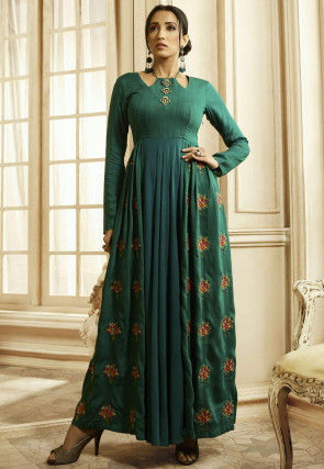 Embroidered Cotton Maxi Dress in Teal Green