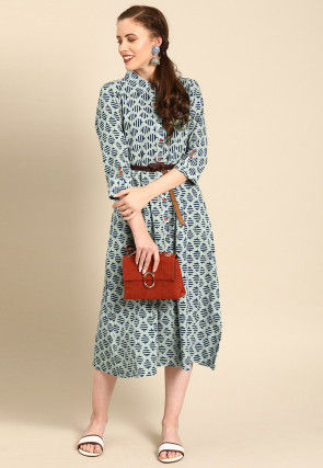Embroidered Cotton Midi Dress in Dusty Green
