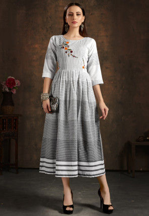 Embroidered Cotton Midi Dress in Grey and Off White