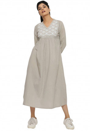Embroidered Cotton Midi Dress in Light Grey