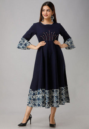 Embroidered Cotton Midi Dress in Navy Blue
